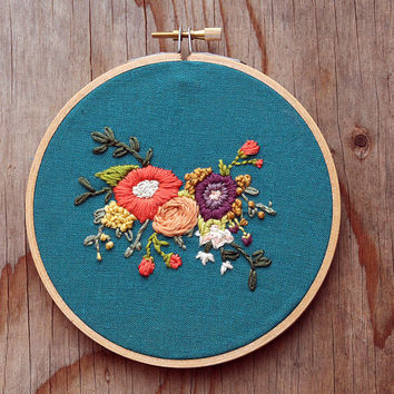 Floral Bouquet Embroidery Hoop - Pink and Purple Flowers on Teal Linen