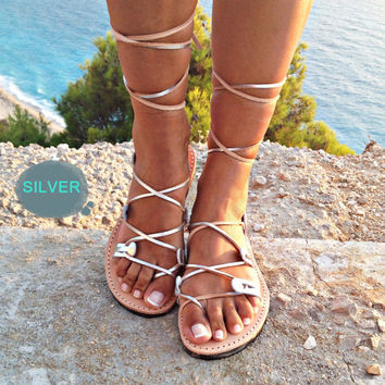 gladiator sandals, Greek leather lace-up Sandals,handmade sandals, SILVER