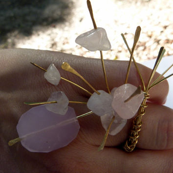 Rose quartz and glass brass wire ring , adjustable , gold ring , adjustable rings , art rings , snake ring , spiky ring ,