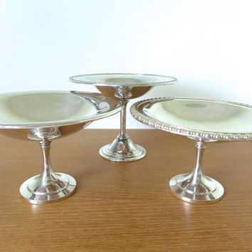 Three silver plate pedestal dishes, Wm. A. Rogers and Oneida