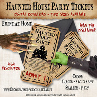Halloween Haunted House Party Tickets Vintage Digital Download Printable Clip Art Scrapbook Collage Sheet