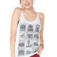 Brandy ♥ Melville |  Joanna Vintage Camera Tank - Graphic Tops - Clothing
