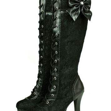 Steampunk Lolita Cosplay Goth Victorian Vintage Style Lace Up Bridal Boots