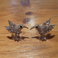 Hummingbird Earrings - Gold Rhinestone Bird Earrings