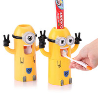 Automatic toothpaste dispenser bathroom accessories minion toothpaste dispenser kids Plastic toothbrush holder Bathroom Products