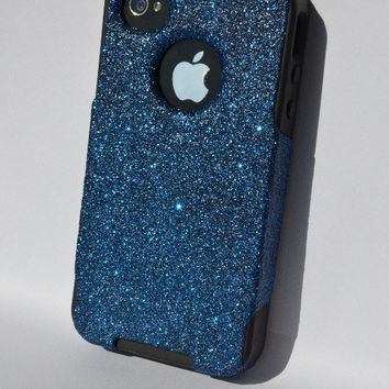 Custom iPhone 4 4s Glitter Otterbox Commuter Cute Case,  Custom  Glitter Blue Azurite /  Black Otterbox Color Cover for iPhone 4 4s