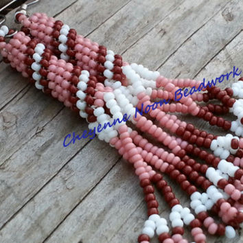 SALE - Native American Beaded Earrings - Peyote Stitch - Desert Rose Spiral