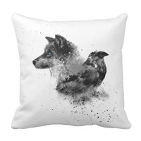 Wolf & Crow Throw Pillow