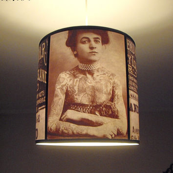 Vintage Tattoos pendant lamp shade lampshade - victorian light, tattoo decor, drum lamp shade, pendant light, tattoo art, rockabilly decor