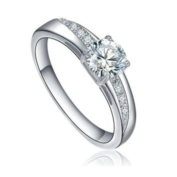 DCCKIX3 Stainless Steel Round Cubic Zirconia Solitaire Wedding Engagement Ring = 1932108868