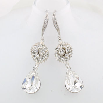 Swarovski crystal drop earrings - clear crystal dangle earrings - silver drop  earrings - bridal earrings 6d70a6238