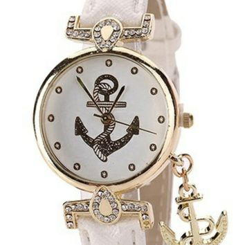 Anchor Watch with Charm Dangle - 2 Colors