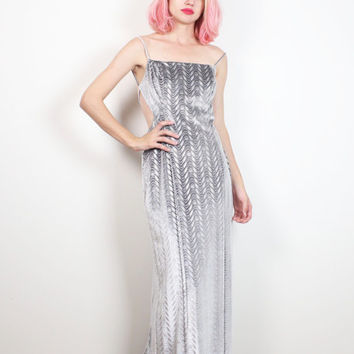 Vintage Gray Silver Velvet Dress 1990s Metallic Gown Backless Cut Out Back Maxi Dress 90s Dress Club Kid Rave Dress Glam Grunge XS S Small