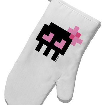 Retro 8-Bit Skull with Pink Bow White Printed Fabric Oven Mitt