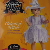 Every Witch Way Celestial Infant Girl Costume 0-6M Dress Hat Halloween