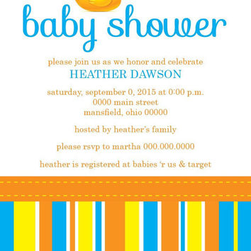 Rubber Duckie Baby Shower Invitation - Digital File OR Printed