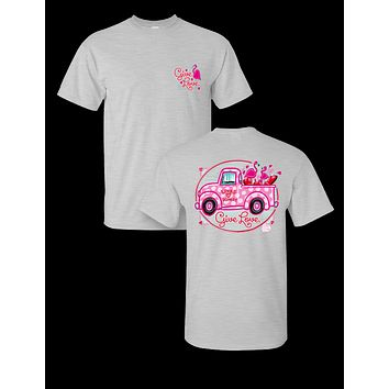 Sassy Frass Valentine's Day Truck Give Love Heart Bright Girlie T Shirt