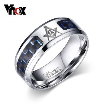 Vnox Men's Masonic Rings Stainless Steel Wedding Rings For Men Carbon Fiber Jewelry free Trackable Post