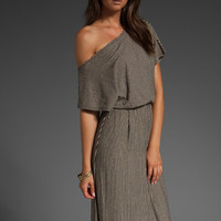 ALICE + OLIVIA Rowena Stripe Off The Shoulder Maxi Dress in Black & Cream at Revolve Clothing - Free Shipping!