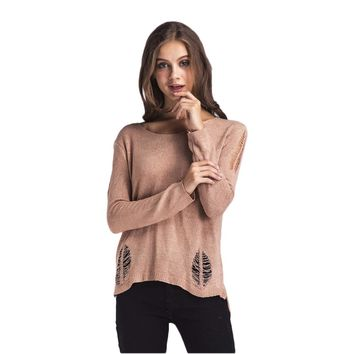 Simple Style Solid Color Strapless Sweater Women Hollow Out Off Shoulder Fashion Crochet Pullovers Jumper Sueter