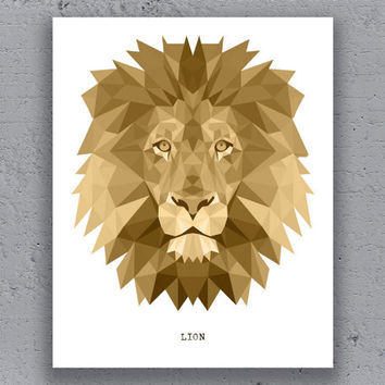 Lion Print Printable Typography Poster Geometric  Brown Print Wildlife Polygon Animal Art Retro Art Print Instant Download Digital Print
