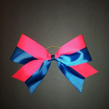 3 inch cheerleader cheer bow neon pink & turquoise by 2girls2Tus