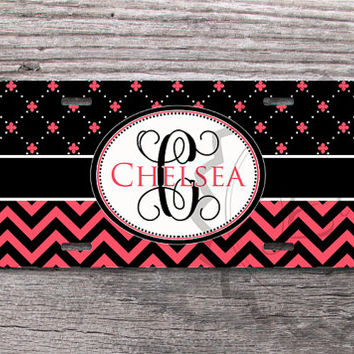 Customized License Plate - Black and Pink Coral chevron and Floral pattern, mixed, personalized car tag, custom name or monogram - 219