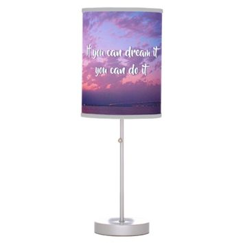 """Dream It Do It"" Quote Pink Purple Sunset Photo Desk Lamp"