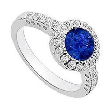 Diffuse Sapphire and Diamond Halo Engagement Ring 14K White Gold 1.25 CT TGW