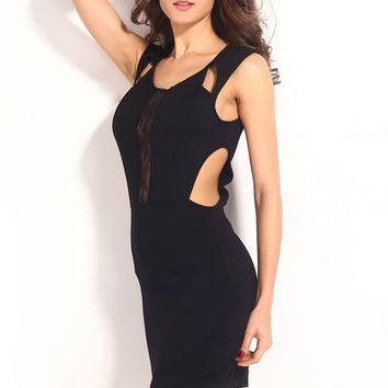 Black Sleeveless Cocktail Mini Dress with Cut out Accent