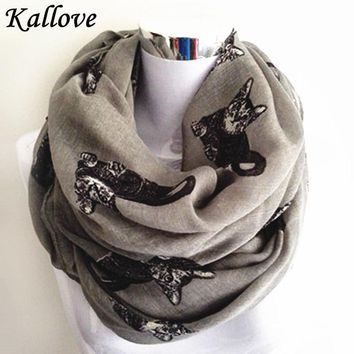 Big Cat Patten Infinity Scarf 2015 Fashion Spring Foulard Women Ladies Gray Animal Print Loop Ring Scarves Circle