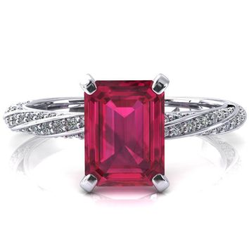 Elysia Emerald Ruby 4 Prong 3/4 Eternity Diamond Accent Ring