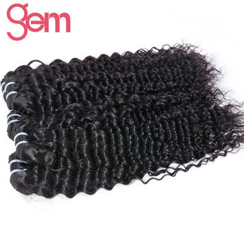 GEM Hair Peruvian Curly Hair Weaving 1Pc 100%  Human Hair Weave Bundles Non-Remy Natural Color 1b# Hair Extension 10-28in