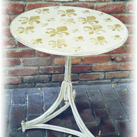 Shabby chic side table, cream side table, distressed side table, rustic accent table, shabby chic accent table, stenciled accent table