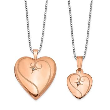 925 Sterling Silver Rose Gold-Plated Diamond Polished Heart Shaped Locket and Pendant Set