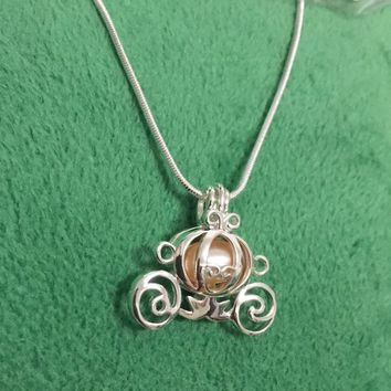 925 Sterling Silver Pumpkin Carriage Pearl Cage Locket Necklace, DIY Pendant Necklace Christmas Valentine's Day Jewelry Gift