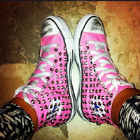Studded Converse, Silver Rivet Studs with converse Pink high top by CUSTOMDUO on ETSY