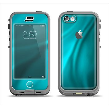 The Turquoise Blue Highlighted Fabric Apple iPhone 5c LifeProof Nuud Case Skin Set