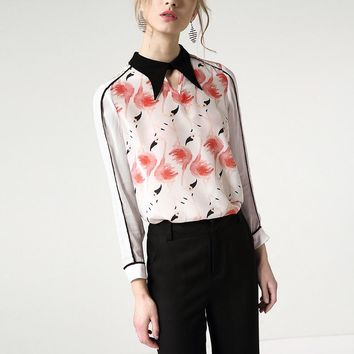 Red Flamingo Printed White Silk Shirt