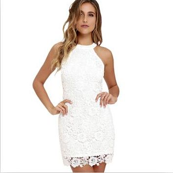Lace Halter Sheath Bodycon Dress