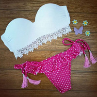 Polka Dots Vintage Triangle Swimwear Bikini Bandeau Push Up White Bra