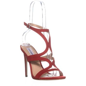 Steve Madden Sidney Ankle Strap Heeled Sandals, Red, 8.5 US