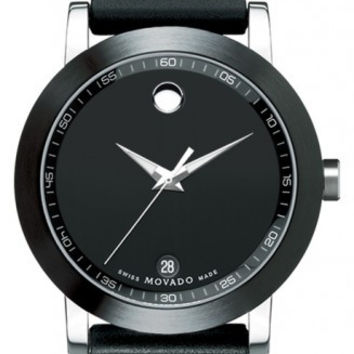 Movado Museum Sport Men's Classic Black PVD 42mm Rubber Band Watch 0606507