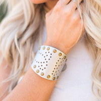 Etched Belt Leather Cuff