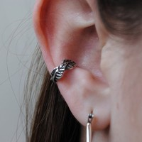 Leaf Ear Cuff in sterling