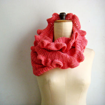PDF PATTERN Crochet Infinity Scarf with Ruffles Looped Cowl 241