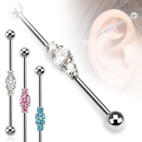 Cubic Zarconia Industrial Piercing Barbell Scaffold 14ga Body Jewelry 316L Surgical Stainless Steel