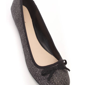 Black Silver Bow Tie Closed Toe Flats Glitter