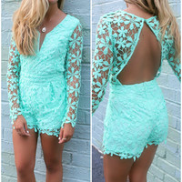 Coco Island Mint Long Sleeve Lace Deep-V Romper