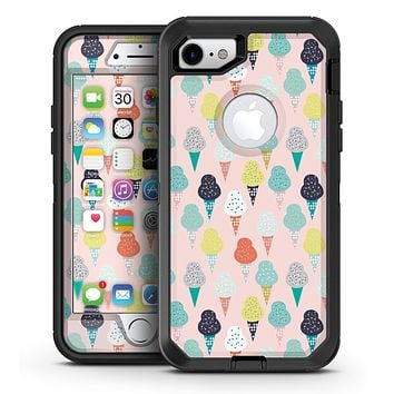 The All Over Pink Ice Cream Cone Pattern - iPhone 7 or 7 Plus OtterBox Defender Case Skin Decal Kit